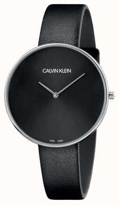 Calvin Klein Damas de luna llena cuero negro esfera negra K8Y231C1