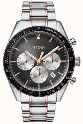 Hugo Boss Hombres trofeo reloj gris cronógrafo dial acero inoxidable 1513634