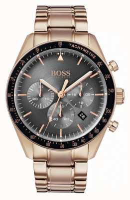 Hugo Boss Reloj trofeo para hombre con cronógrafo gris, tono dorado rosa 1513632
