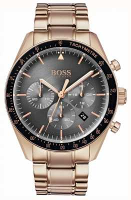 Boss Reloj de trofeo para hombre esfera gris cronógrafo tono oro rosado 1513632
