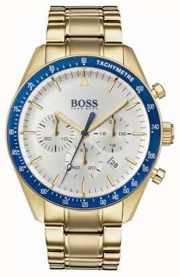 Boss Reloj de trofeo para hombre esfera blanca cronógrafo tono dorado. 1513631
