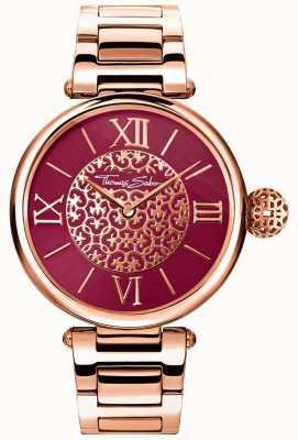 Thomas Sabo Mujeres karma rose gold tone pulsera rojo sunray dial reloj WA0306-265-212