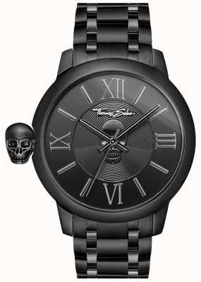 Thomas Sabo Reloj rebelde con calavera de acero inoxidable ip negro karma para hombre WA0305-202-203