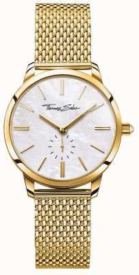 Thomas Sabo Pulsera de malla para mujer con tono dorado glam spirit en color blanco WA0302-264-213-33