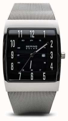 Bering Reloj de pulsera de malla cuadrada de plata pulida solar para hombre 16433-002