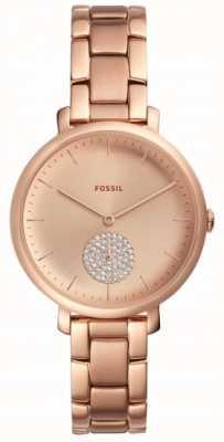 Fossil Para mujer Jaqueline rosa oro pulsera reloj simple dial ES4438