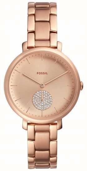 c2ab3d731e27 Fossil Para Mujer Jaqueline Rosa Oro Pulsera Reloj Simple Dial ...