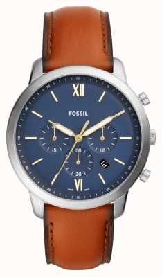 Fossil Reloj de correa de cuero marrón para hombre neutra azul Dial cronógrafo FS5453