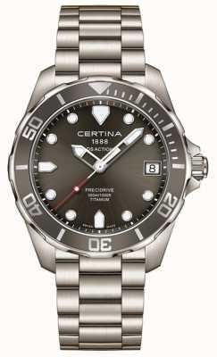 Certina Mens ds acción precidrive dial gris reloj de titanio C0324104408100