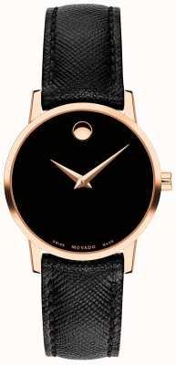 Movado Womens museum correa de cuero negro oro rosa 0607206