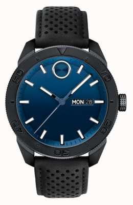 Movado Correa de cuero perforada de color negro azul para hombre 3600495