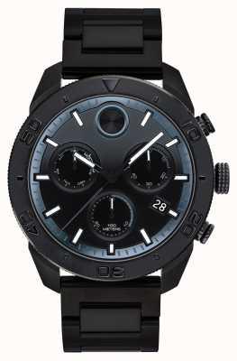 Movado Mens audaz negro plateado cronógrafo deportivo 3600514