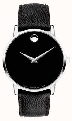 Movado Reloj para hombre correa de cuero negro esfera negra 0607194