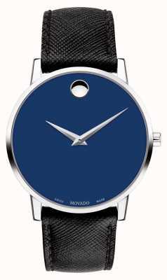 Movado Mens museum dial azul correa de cuero negro acero inoxidable 0607197
