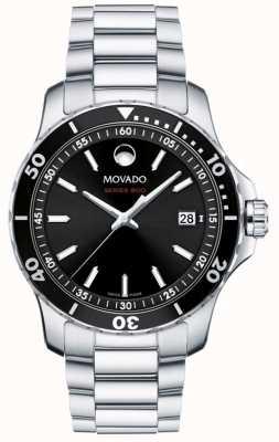 Movado Esfera negra de acero inoxidable serie 800 para hombre 2600135