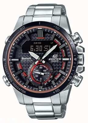 Casio Edifice bluetooth lap temporizador acero inoxidable acentos rojos ECB-800DB-1AEF