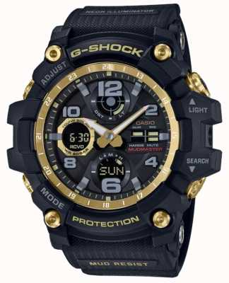 Casio Correa de caucho dorado negro con control de radio G-shock GWG-100GB-1AER
