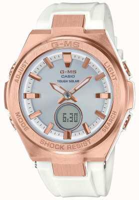 Casio Correa blanca solar resistente G-ms baby-g en oro rosa MSG-S200G-7AER