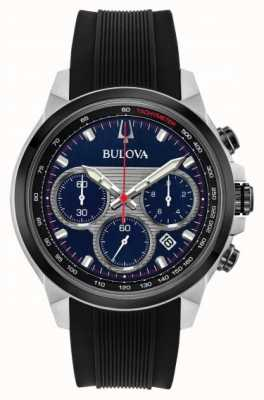 Bulova Cronógrafo para hombre esfera azul correa de caucho negro reloj 98B314