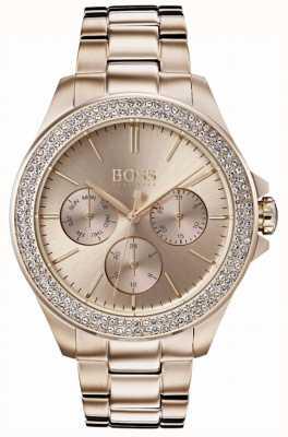 Hugo Boss Conjunto de cristal premier para mujer con pulsera chapada en oro 1502443