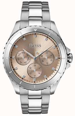BOSS Premier pulsera de acero inoxidable con esfera de bronce para mujer 1502444