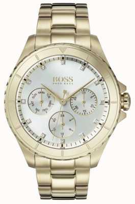Boss Premier para mujer chapado en oro con esfera plateada. 1502445