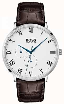 Boss Esfera blanca de cuero marrón clásico william para hombre 1513617