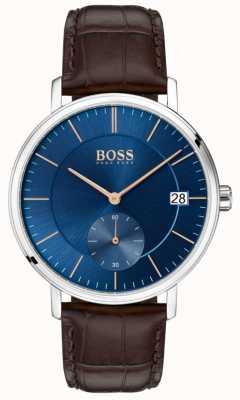 Boss Correa de cuero marrón para hombre corporal azul esfera 1513639