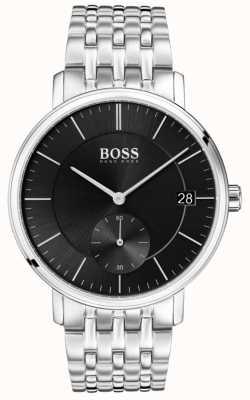 Hugo Boss Esfera negra de acero inoxidable corporal para hombres 1513641