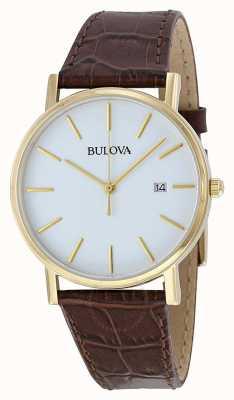 Bulova Reloj clásico de cuero marrón para hombre 97B100