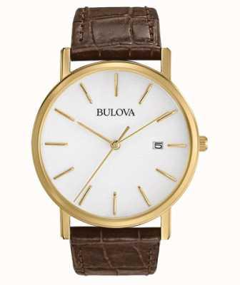 Bulova Reloj clásico de cuero marrón para hombre. 97B100