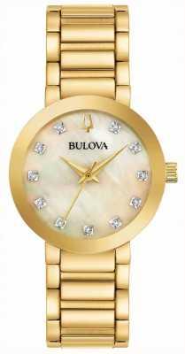 Bulova Reloj de cristal plateado pvd oro de las mujeres 97P133