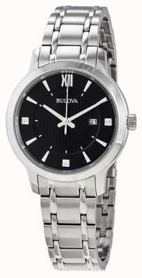 Bulova Reloj de vestir de cristal de acero inoxidable para mujer 96P185