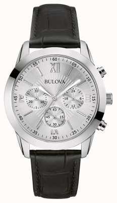 Bulova Reloj cronógrafo clásico de cuero negro para hombre 96A162