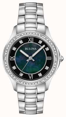 Bulova Reloj de mujer de acero inoxidable con juego de cristales. 96L266