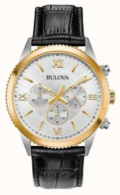 Bulova Reloj cronógrafo de cuero negro para mujer. 98A218