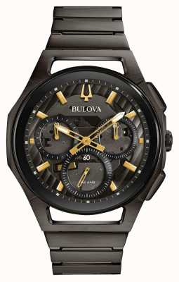 Bulova Reloj pv plateado de bronce curv hombres 98A206