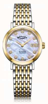 Rotary Reloj de pulsera de mujer de windsor con fecha de diamantes en dos tonos. LB05301/41/D