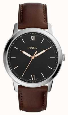 Fossil Hombres el reloj minimalista esfera negra correa de cuero marrón FS5464