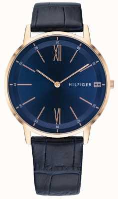 Tommy Hilfiger Reloj de hombre cooper correa de cuero azul caja de tono dorado rosa 1791515