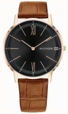 Tommy Hilfiger Reloj para hombre Cooper correa de cuero marrón envejecido caja de acero 1791516