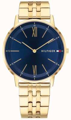 Tommy Hilfiger Reloj para hombre Cooper con tono dorado, esfera azul 1791513