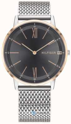 Tommy Hilfiger Reloj de hombre de cobre reloj de pulsera de malla de acero inoxidable esfera negra 1791512