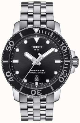 Tissot Mens seastar 1000 powermatic 80 esfera negra acero inoxidable T1204071105100