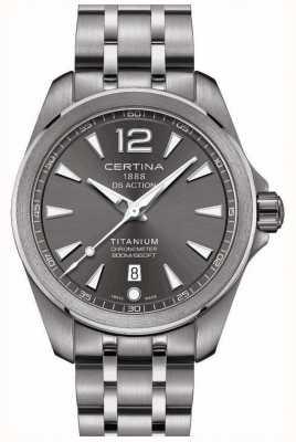 Certina Reloj para hombre ds action brazalete de acero inoxidable con esfera gris C0328514408700