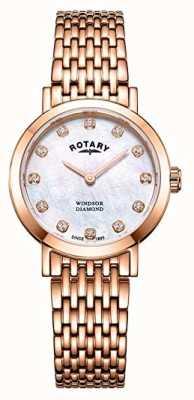 Rotary Reloj de pulsera de windsor color oro rosa para mujer de windsor. LB05304/41/D