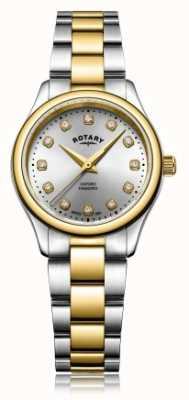 Rotary Reloj de señora oxford ladies diamond dos tonos pulsera LB05093/44/D