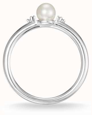 Thomas Sabo Perla de plata esterlina y anillo de diamantes blancos talla 54 D_TR0039-765-14-54