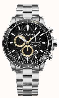 Raymond Weil Reloj para hombre tango 300 pulsera acero inoxidable crono negro 8570-ST1-20701