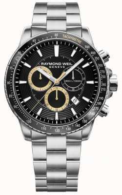 Raymond Weil Reloj tango 300 para hombre pulsera de acero inoxidable crono negro 8570-ST1-20701